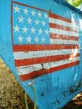 Drapeau américain peint sur la boîte d'un bateau cubain de souffle Photographie stock libre de droits