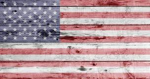 Drapeau américain peint sur la texture en bois Image libre de droits