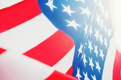 Drapeau américain pour le Jour de la Déclaration d'Indépendance commémoratif le 4ème juillet Images libres de droits