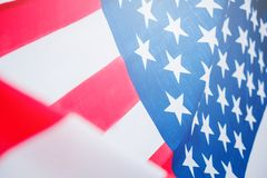Drapeau américain pour le Jour de la Déclaration d'Indépendance commémoratif le 4ème juillet photos libres de droits