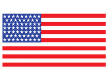 Drapeau américain sur le fond blanc Photos stock