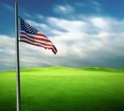 Drapeau américain dans la longue photographie d'exposition Image libre de droits