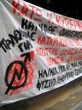 Drapeau anti-gouvernement communiste, Patra Grèce Image libre de droits
