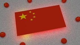 Drapeau Asie jaune rouge de la Chine illustration libre de droits