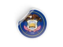 Drapeau autocollant rond d'état d'Utah, USA Image libre de droits