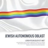 Drapeau autonome juif d'Oblast d'état russe ondulant sur un isolat illustration libre de droits