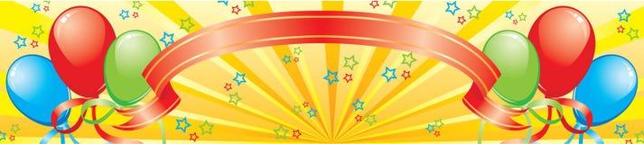 Drapeau avec des ballons, une bande et des étoiles Images libres de droits