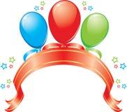 Drapeau avec des ballons, une bande et des étoiles Image stock
