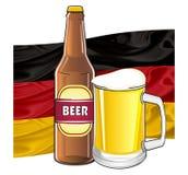 Drapeau avec deux symboles de bière Photographie stock