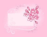 Drapeau avec la cerise fleurissante Image libre de droits