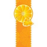 Drapeau avec les parts juteuses du fruit orange illustration libre de droits