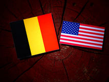 Drapeau belge avec le drapeau des Etats-Unis sur un tronçon d'arbre photos libres de droits