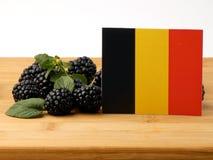 Drapeau belge sur un panneau en bois avec des mûres d'isolement sur W images libres de droits