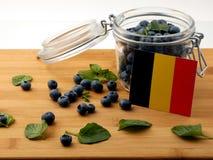 Drapeau belge sur une planche en bois avec des myrtilles sur le petit morceau photographie stock libre de droits