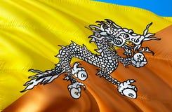 Drapeau bhoutanais conception de ondulation du drapeau 3D Le symbole national du Bhutan, rendu 3D Couleurs nationales bhoutanaise illustration de vecteur