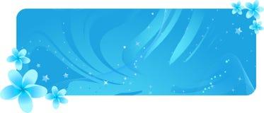 Drapeau bleu avec les fleurs tropicales Photographie stock libre de droits
