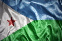 drapeau brillant de Djibouti Photos stock