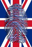 Drapeau BRITANNIQUE avec l'empreinte digitale binaire illustration de vecteur