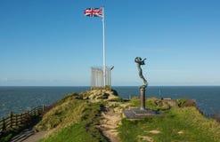 Drapeau britannique chez Ilfracombe, Devon, Angleterre Images libres de droits