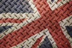 Drapeau BRITANNIQUE de la Grande-Bretagne de vintage grunge au-dessus de vieux métal Image stock