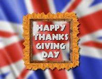 Drapeau BRITANNIQUE et jour heureux de thanksgiving avec les feuilles jaunes Images libres de droits