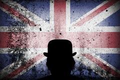 Drapeau britannique sur un chapeau de grunge et de lanceur illustration stock