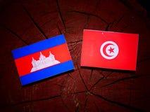 Drapeau cambodgien avec le drapeau tunisien sur un tronçon d'arbre d'isolement Image libre de droits