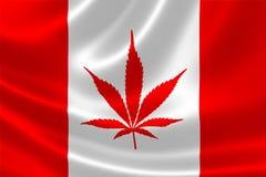 Drapeau canadien avec le symbole d'usine de cannabis illustration libre de droits