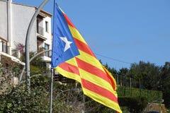 Drapeau catalan de l'indépendance en détail Photo stock