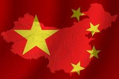 Drapeau chinois avec la topographie photographie stock libre de droits