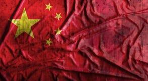 Drapeau chinois chiffonné par grunge rendu 3d Photos libres de droits