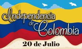 Drapeau colombien avec le ciel paisible et le rouleau favorisant le Jour de la Déclaration d'Indépendance, illustration de vecteu illustration libre de droits