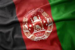 Drapeau coloré de ondulation de l'Afghanistan Photo libre de droits