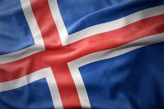 Drapeau coloré de ondulation de l'Islande Photo stock
