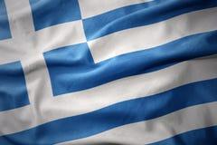 Drapeau coloré de ondulation de la Grèce Photographie stock libre de droits