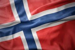 Drapeau coloré de ondulation de la Norvège Photo libre de droits