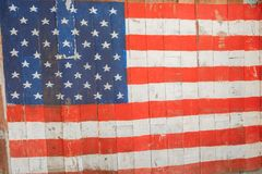 Drapeau concept le ce en bois américain de mémorial de jour national du 4 juillet Photos libres de droits