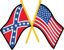 Drapeau confédéré et américain Photographie stock