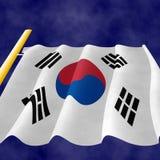 Drapeau coréen sur le poteau, vue  Illustration Libre de Droits