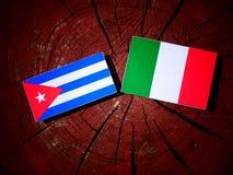 Drapeau cubain avec le drapeau italien sur un tronçon d'arbre d'isolement illustration libre de droits