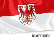 Drapeau d'état allemand Brandebourg ondulant sur un fond blanc d'isolement Photographie stock