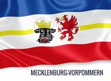 Drapeau d'état allemand Mecklenburg-Vorpommern ondulant sur un fond blanc d'isolement Photographie stock