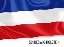 Drapeau d'état allemand Schleswig-Holstein ondulant sur un fond blanc d'isolement Image libre de droits