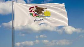 Drapeau d'état de l'Illinois en vent contre le ciel nuageux illustration libre de droits