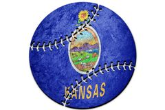 Drapeau d'état du Kansas de base-ball Base-ball de fond de drapeau du Kansas photo stock