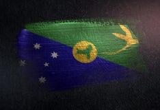 Drapeau d'Île Christmas fait de peinture métallique de brosse sur Dar grunge illustration de vecteur