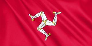 Drapeau d'île de Man ondulant avec le vent Illustration Stock