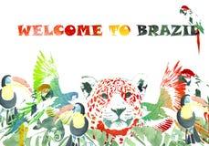 Drapeau d'aquarelle Fond tropical Accueil vers le Brésil Images libres de droits