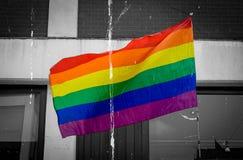 Drapeau d'arc-en-ciel de LGBT d'isolement sur l'amende noire et blanche AR de fond Photo stock