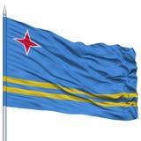 Drapeau d'Aruba sur le mât de drapeau Images stock